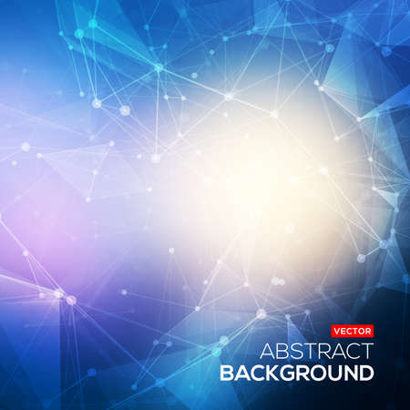 connect: Abstract polygonal blue colorful low poly bright background with connecting dots and lines. Connection structure. Vector science background. Polygonal vector background.