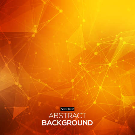 Abstract polygonal orange red low poly background with connecting dots and lines. Connection structure. Vector science background. Polygonal vector background. Ilustracja