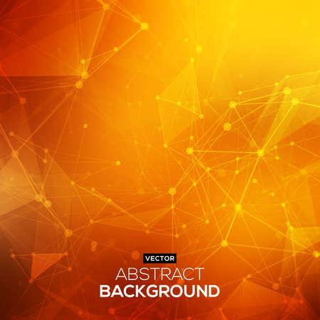 geometric background: Naranja de fondo bajo poli Resumen poligonal rojo con puntos de conexi�n y l�neas. Estructura de conexi�n. Vector de fondo la ciencia. Vector de fondo poligonal.