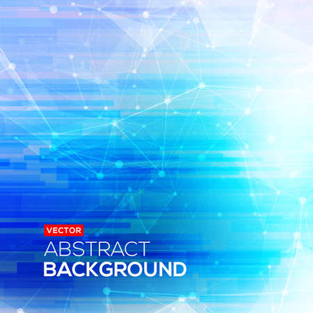 Abstract polygonal blue low poly bright background with connecting dots and lines. Connection structure. Vector science background. Polygonal vector background.