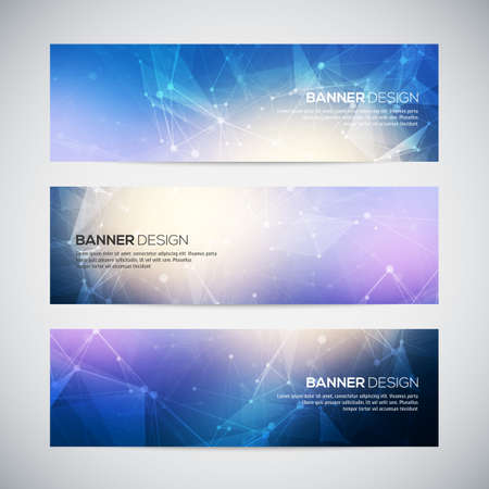 technologies: Vector banners set with polygonal abstract shapes, with circles, lines, triangles. Abstract polygonal low poly banners with connecting dots and lines. Connection structure. Vector science background.