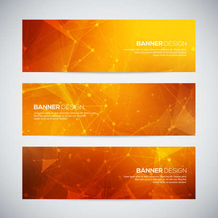 Vector banners set with polygonal abstract shapes, with circles, lines, triangles. Abstract polygonal low poly banners with connecting dots and lines.