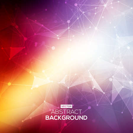 Abstract low poly colorful bright technology vector background. Connection structure. Vector data science background. Polygonal vector background.