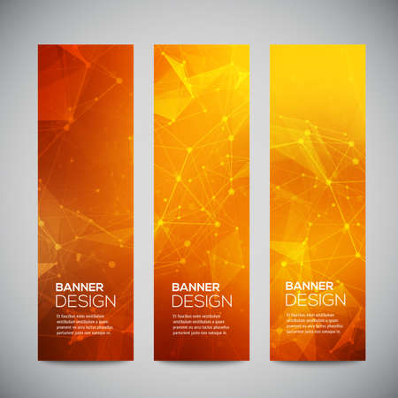 orange color: Vector vertical banners set with polygonal abstract shapes, with circles, lines, triangles.