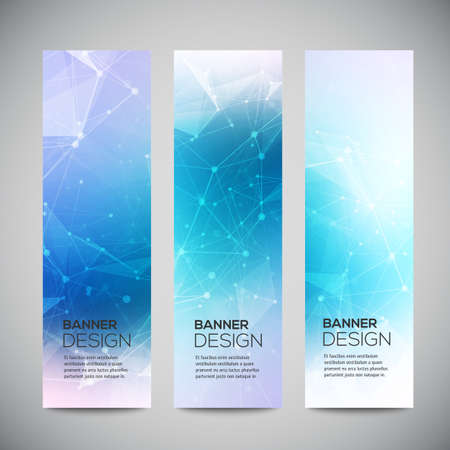 Vector vertical banners set with polygonal abstract shapes, with circles, lines, triangles.