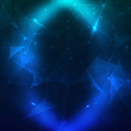 Abstract polygonal space low poly dark background with connecting dots and lines. Connection structure. Vector science background. Polygonal vector background. Futuristic HUD background. Vector.