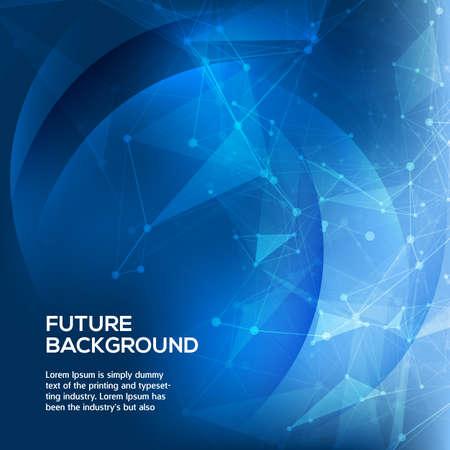Abstrakter blauer Hintergrund. Polygonaler dunkler Hintergrund des abstrakten polygonalen Raumes mit Verbindungspunkten und Linien. Verbindungsstruktur Vektor Wissenschaft Hintergrund. Polygonaler Vektor Hintergrund. Vektor Standard-Bild - 43280580