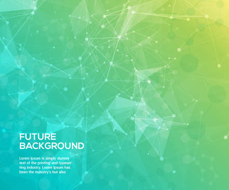 background green: Colorful abstract background. Abstract polygonal  background with connecting dots and lines. Connection structure. Vector science background.