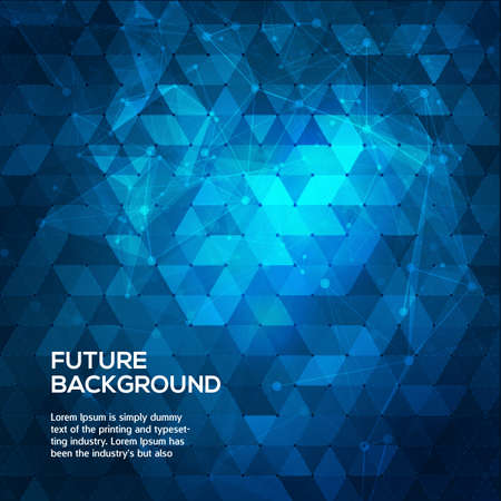 Abstract blue background with triangles. Abstract polygonal space low poly dark background with connecting dots and lines. Polygonal vector background. Futuristic HUD background. Vector Ilustração