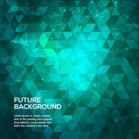 三角形の抽象的な青と緑の背景。点と線を結んでポリゴン スペース低ポリ暗い背景を抽象化します。多角形のベクトルの背景。未来の HUD の背景。