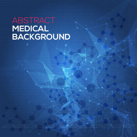 Medical abstract background. Abstract polygonal space low poly dark background with connecting dots and lines. Connection structure. Vector science background. Polygonal vector background. Vector