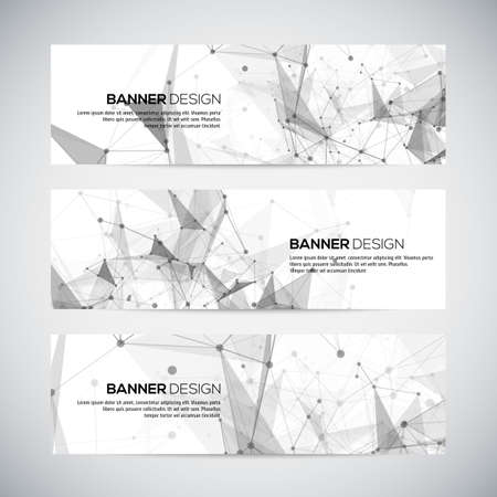 Vector banners set with polygonal abstract shapes, with circles, lines, triangles. Vector Illustration