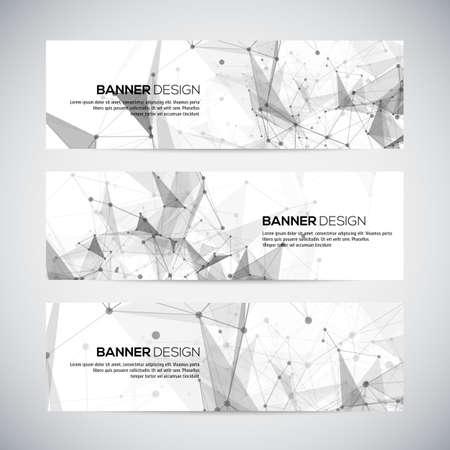 textura: Vektorové bannery set s polygonální abstraktních tvarů, s kruhy, čáry, trojúhelníky. Vektor
