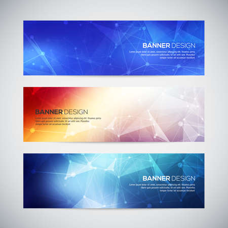 geometric shape: Vector banners set with polygonal abstract shapes, with circles, lines, triangles.