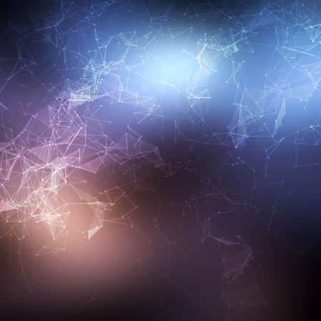 química: Espacio poligonal baja poli fondo oscuro abstracto con los puntos de conexión y líneas. Vectores