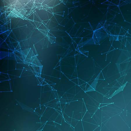 közlés: Abstract alacsony poli kék fényes technológia vektor háttérben.