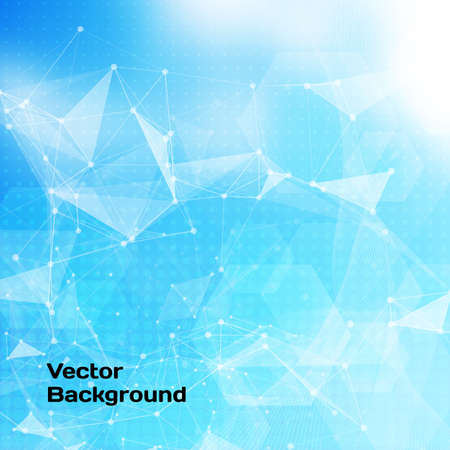global network: Abstract low poly blue bright technology vector background. Connection structure. Vector data science background. Polygonal vector background.
