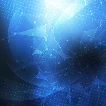 poligonos: Fondo geom�trico abstracto. Estructura met�lica con malla poligonal fondo. forma abstracta con l�neas y puntos conectados. Resumen poligonal baja poli fondo oscuro