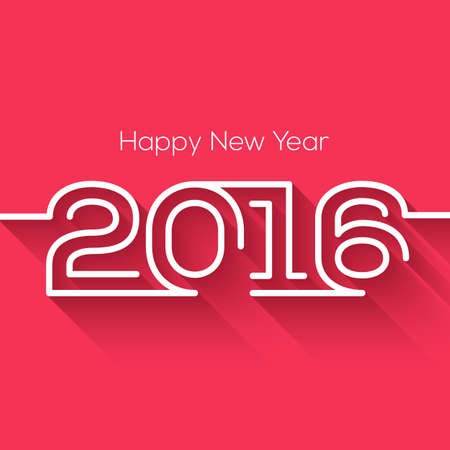 long night: Creative happy new year 2016 design. Flat design. Happy new year 2016 creative greeting card design in flat style