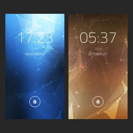 touch screen interface: Mobile interface wallpaper design. Set of abstract elegant backgrounds with geometric style for smartphones, mobiles, devices. Illustration