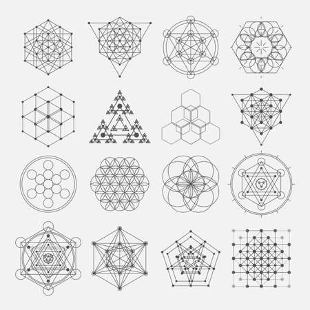 Sacred geometry vector design elements. Alchemy religion philosophy, spirituality, hipster symbols Çizim
