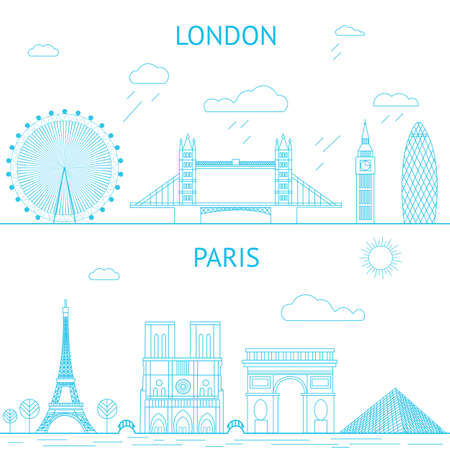 skyline at sunrise: London and Paris skyline illustration in lines style.