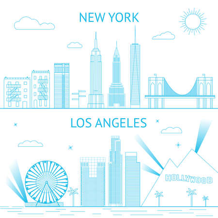 New York and Los Angeles skyline illustration in lines style.  向量圖像