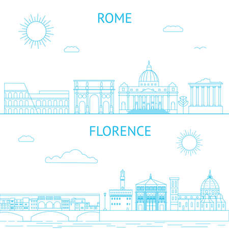 florence   italy: Rome and Florence vector line illustrations. Rome and Florence skyline. City design