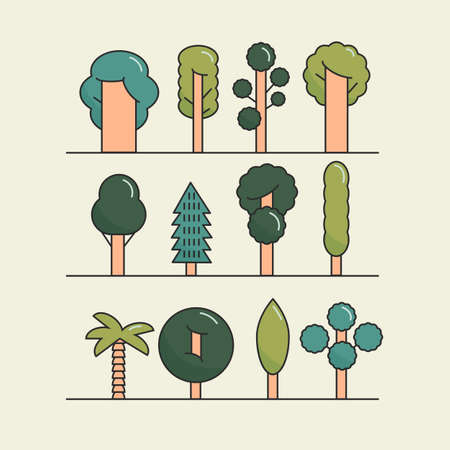 tree works: Modern flat trees set. Vector tree icons set, tree symbols for your works