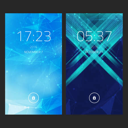 ui: Mobile interface wallpaper design. Set of abstract elegant backgrounds with geometric style for smartphones, mobiles, devices. Illustration