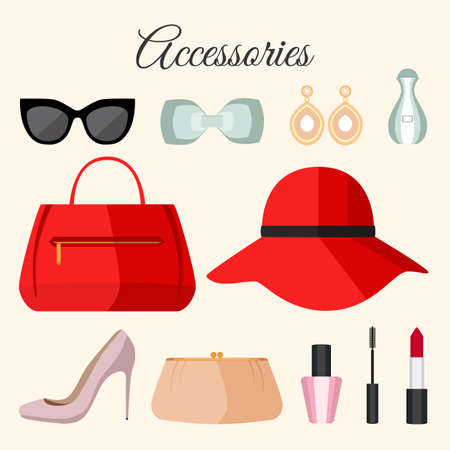sunglasses isolated: Lady fashion accessories set in flat style. Vector design