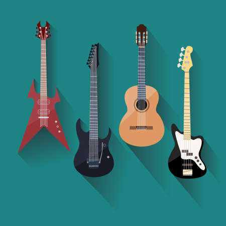 fingerboard: Acoustic and electric guitars set in flat style. Vector illustration Illustration