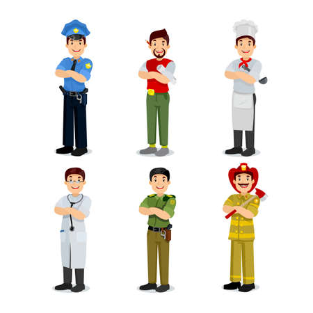 different jobs: Set of colorful profession man flat style icons policeman, artist, cooker, military, doctor, firefighter. Vector Illustration