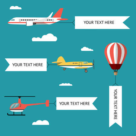 air speed: Aeroplane, planes, helicopters, biplane and hot air balloon. Set of colorful flat air transports with cloud.