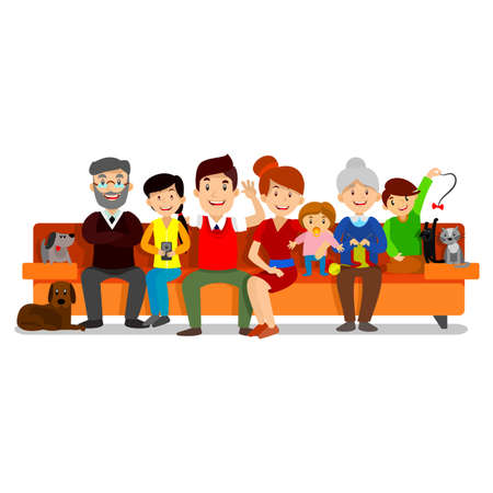 Big Happy Family sit on sofa. Parents with Children. Father, mother, children, grandpa, grandma, dog and cat Vector Vettoriali