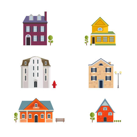 residential houses: Colorful Flat Residential Houses. Flat House Icons and Symbols set. Vector.