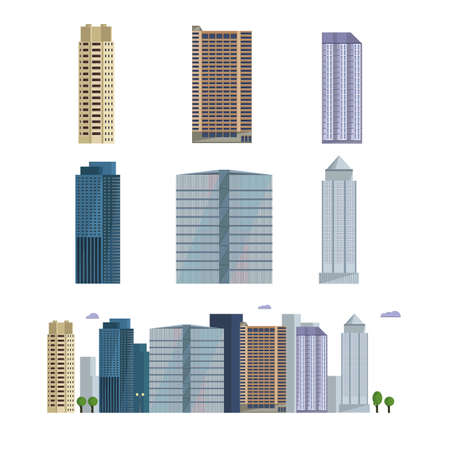 business buildings: Office city building. Downtown landscape, skyline. Office Buildings vector illustration. Business center and residential downtown city area buildings. Illustration
