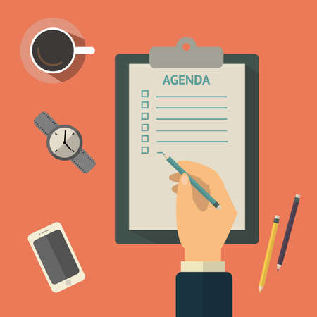 agenda: Agenda list concept vector illustration. Business concept with paper agenda, pen, coffee, watch, phone, clipboard in flat style. Vector. Illustration