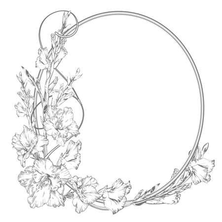 Gladiolus flower. Vintage elegant flowers. Black and white vector illustration. Botany. Illustration