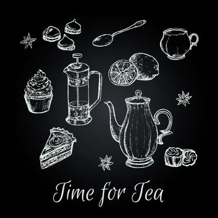 afternoon tea: Hand draw tea party vector illustration. Tea background with cakes and some sweets. Afternoon tea vector illustration.