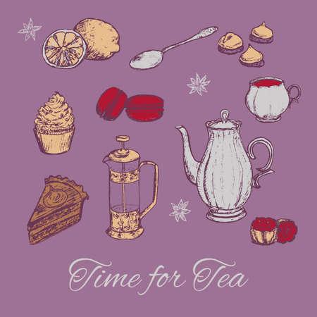 tarde de cafe: Drenaje de la mano Ilustración del té de parte de vector. Fondo del té con pasteles y algunos dulces. Tarde ilustración vectorial té.