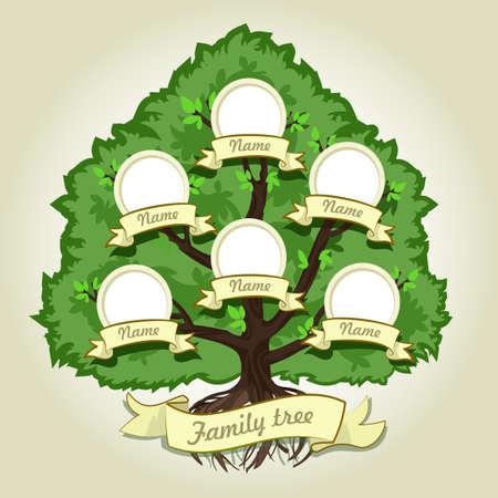 arbol genealógico: árbol genealógico de la familia en el fondo gris. Árbol genealógico de estilo vintage. Concepto del árbol de la ilustración de la familia. Ilustración del vector.