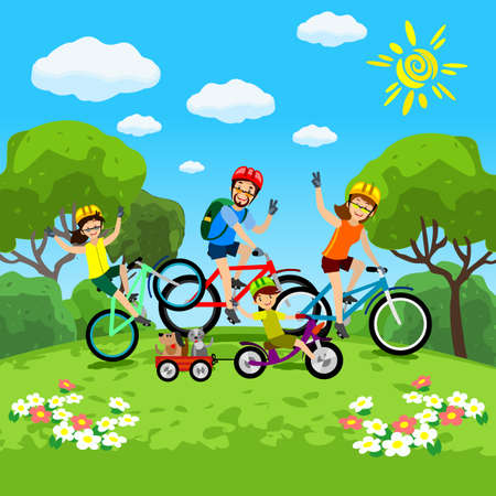 Family with kids concept of cycling in the park. Happy family riding bikes. The family in the park on bicycles. Vector