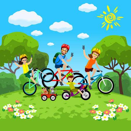 Rodzina z dzieckiem koncepcji jazdy na rowerze w parku. Szczęśliwa rodzina jeździeca. Rodzina w parku na rowery. Wektor