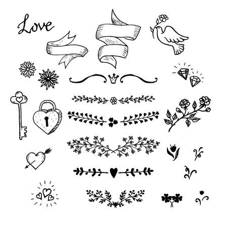 vintage design: Wedding hand made graphic set flowers, ribbons and decorative elements. Vector design elements decorations for wedding. Hand made vintage design elements, designers toolkit. Illustration