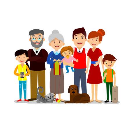 큰 행복한 가족. 아이들과 부모. 아버지, 어머니, 어린이, 할아버지 할머니 개와 고양이 일러스트
