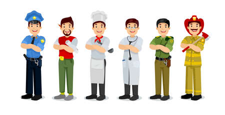 profession: Set of colorful profession man flat style icons policeman, artist, cooker, military, doctor, firefighter. Vector characters of different professions