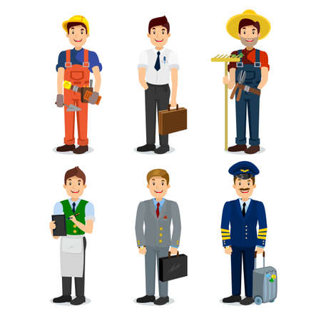 profession: Set of colorful profession man flat style icons pilot, businessman, builder, waiter, farmer, manager. Vector characters of different professions. Illustration