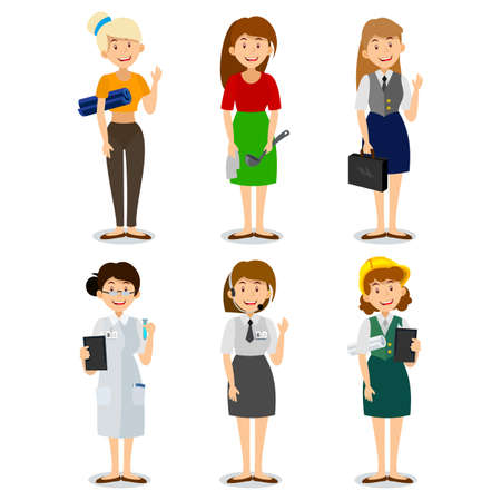 Set of colorful profession woman flat style icons engineer, a housewife, a yoga instructor, researcher, entrepreneur, consultant on the phone.  Characters of different professions. Illustration