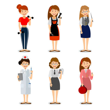 Set of colorful profession woman flat style icons teacher, fitness trainer, the nurse, the seller of cosmetics, hairdresser, accountant,  Vector characters of different professions. Vector